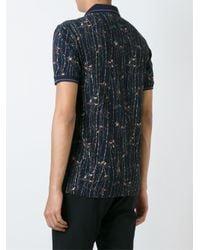 Dolce & Gabbana - Blue Bird Print Polo Shirt for Men - Lyst
