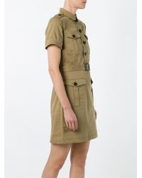Burberry Brit - Green Belted Military Shirt Dress - Lyst