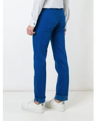 Armani Jeans Blue Stretch Fabric Slim Fit Chinos for men