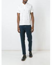 Moncler White Logo Embellished Polo Shirt for men