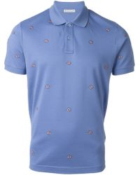Moncler Blue Logo Embellished Polo Shirt for men