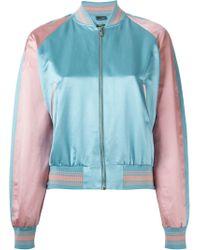Alexander McQueen - Pink Striped Trim Bomber Jacket - Lyst