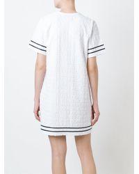 Stussy - White Stripe Detail T-shirt Dress - Lyst