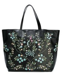 RED Valentino Black Bead Embroidery Tote Bag