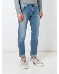 Nudie Jeans Blue 'salty Stone' Stretch Fabric Straight Leg Jeans for men