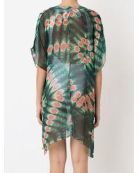 Brigitte Bardot - Green V-neck Printed Beach Dress - Lyst