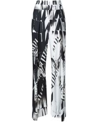 Ann Demeulemeester White Ray Pattern Wide Leg Palazzo Trousers