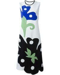Victoria, Victoria Beckham | Green Crepe Abstract Applique Midi Dress | Lyst