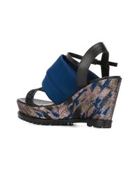 Markus Lupfer | Black Rubber Sole Wedge Sandals | Lyst