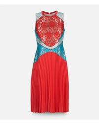 Christopher Kane - Red Lace Fagotting Dress With Pleated Skirt - Lyst