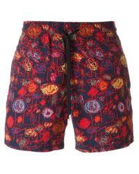 Vilebrequin | Blue Sketch Print Swim Shorts for Men | Lyst