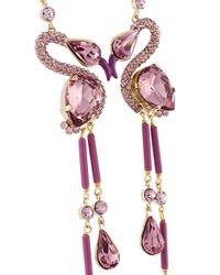 Etro - Purple Crystal Flamingo Necklace - Lyst