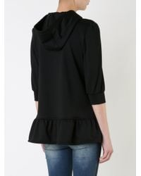 Guild Prime Black Zip Up Ruffle Fastening Peplum Hoodie