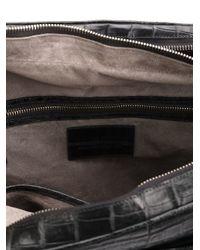 Santiago Gonzalez Black Crocodile Effect Embossed Laptop Bag for men