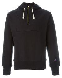 Champion - Black Half Zip Hooded Sweatshirt - Lyst