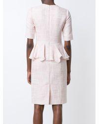 Carolina Herrera - Pink Tweed Dress - Lyst