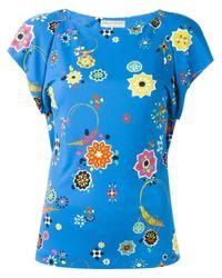 Emilio Pucci Blue Floral Print T-shirt