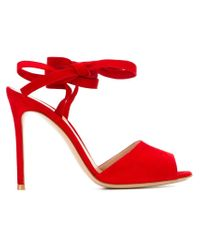 Gianvito Rossi - Red Ankle-tie Sandals - Lyst