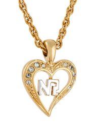 Nina Ricci - Metallic Heart Pendant Necklace - Lyst