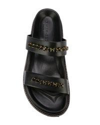 Twin Set - Black Embellished Leather Sandals - Lyst