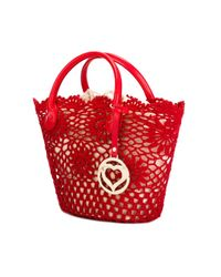 Twin Set - Red Small Crochet Tote - Lyst
