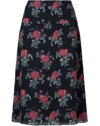 Saint Laurent | Black Floral Print Skirt | Lyst