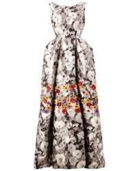 Oscar de la Renta Black Floral Print Mikado Gown