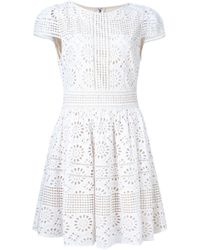 Alice Olivia Imani Embroidered Dress In White Lyst