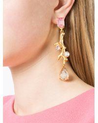 Oscar de la Renta - Metallic Drop Crystal Clip-on Earrings - Lyst