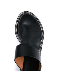 Givenchy Black Chain Embellished Leather Thong Sandals