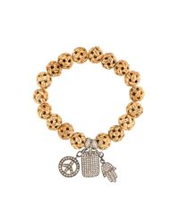 Loree Rodkin   Multicolor Carved Wood Diamond Charm Bracelet   Lyst