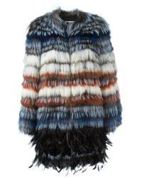 Etro - Multicolor Raccoon & Fox Fur Midi Coat - Lyst