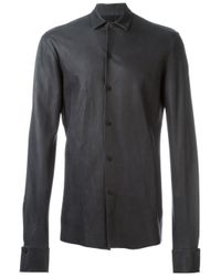 Ma+ Black Leather Long Sleeve Shirt for men