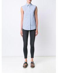 T By Alexander Wang - Blue Wrap Back Sleeveless Shirt - Lyst
