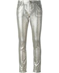 Roberto Cavalli | Gray Metallic Mid-rise Skinny Jeans | Lyst