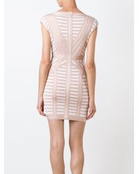 Hervé Léger - Multicolor Striped Fitted Mini Dress - Lyst