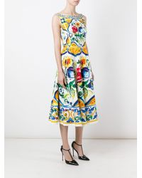 Dolce Amp Gabbana Cotton Majolica Print Open Back Dress Lyst