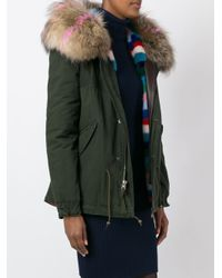 Mr & Mrs Italy Green Mink And Raccoon Fur Lined Jacket
