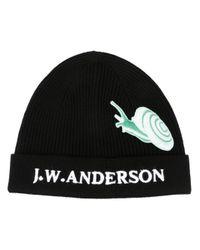 J.W.Anderson Black Snail Beanie Hat for men