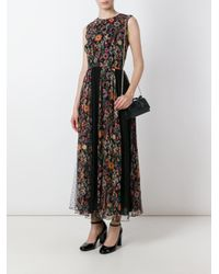 RED Valentino - Black Floral Print Pleated Dress - Lyst
