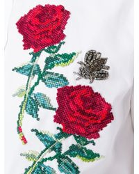 Dolce & Gabbana - White Rose Appliqué Shirt for Men - Lyst