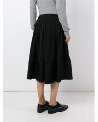 JOSEPH - Black Pleated Midi Skirt - Lyst