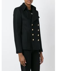 Saint Laurent Black Classic Short Pea Coat