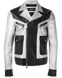 DSquared² Black - Two Tone Leather Jacket - Men - Cotton/calf Leather/lamb Skin/polyester - 48 for men
