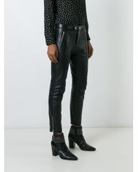 Saint Laurent - Black Leather Biker Trousers - Lyst