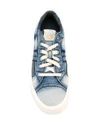 DIESEL - Blue Denim Low-top Sneakers - Lyst