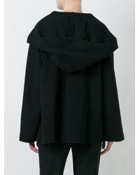 Agnona Black Cashmere Hooded Cape