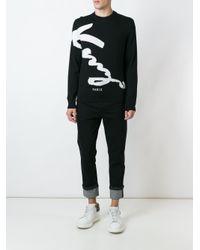 KENZO Black Signature Intarsia Jumper for men