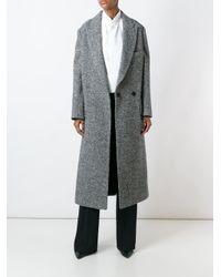 Lanvin Black Long Herringbone Coat