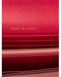 Tory Burch - Pink Logo Plaque Wallet - Lyst